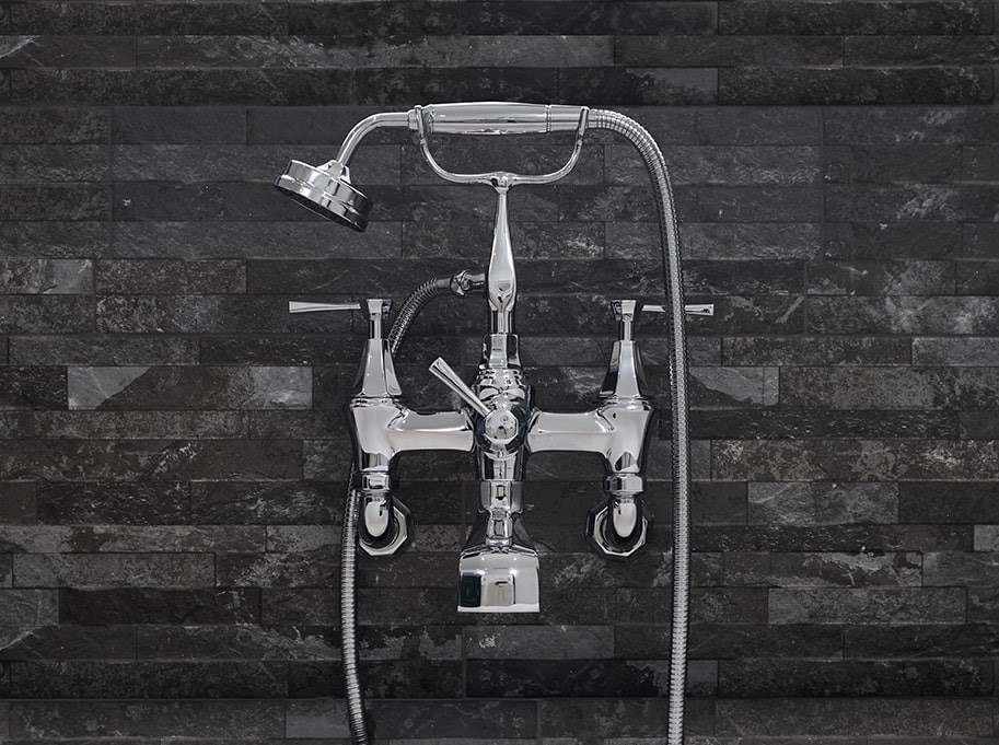3110-1CP Deco Wall Mounted Bath Shower Mixer with Handshower and Lever Handles-Perrin & Rowe stockist Worcestershire