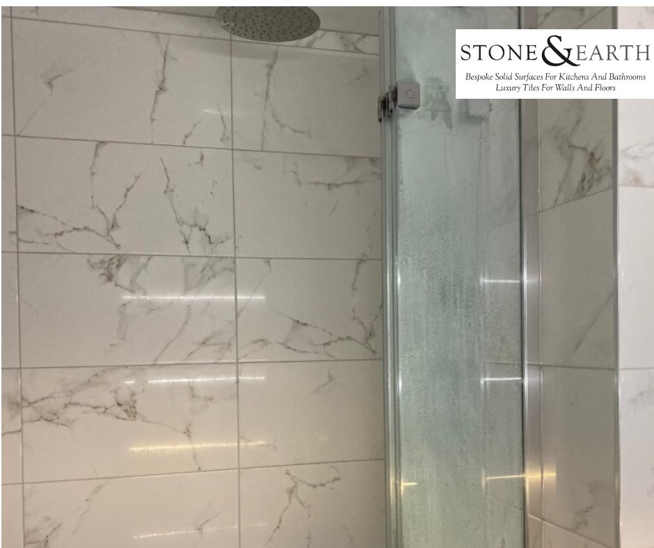 Porcelanosa Marmol Carrara Blanco bathroom wall tiles
