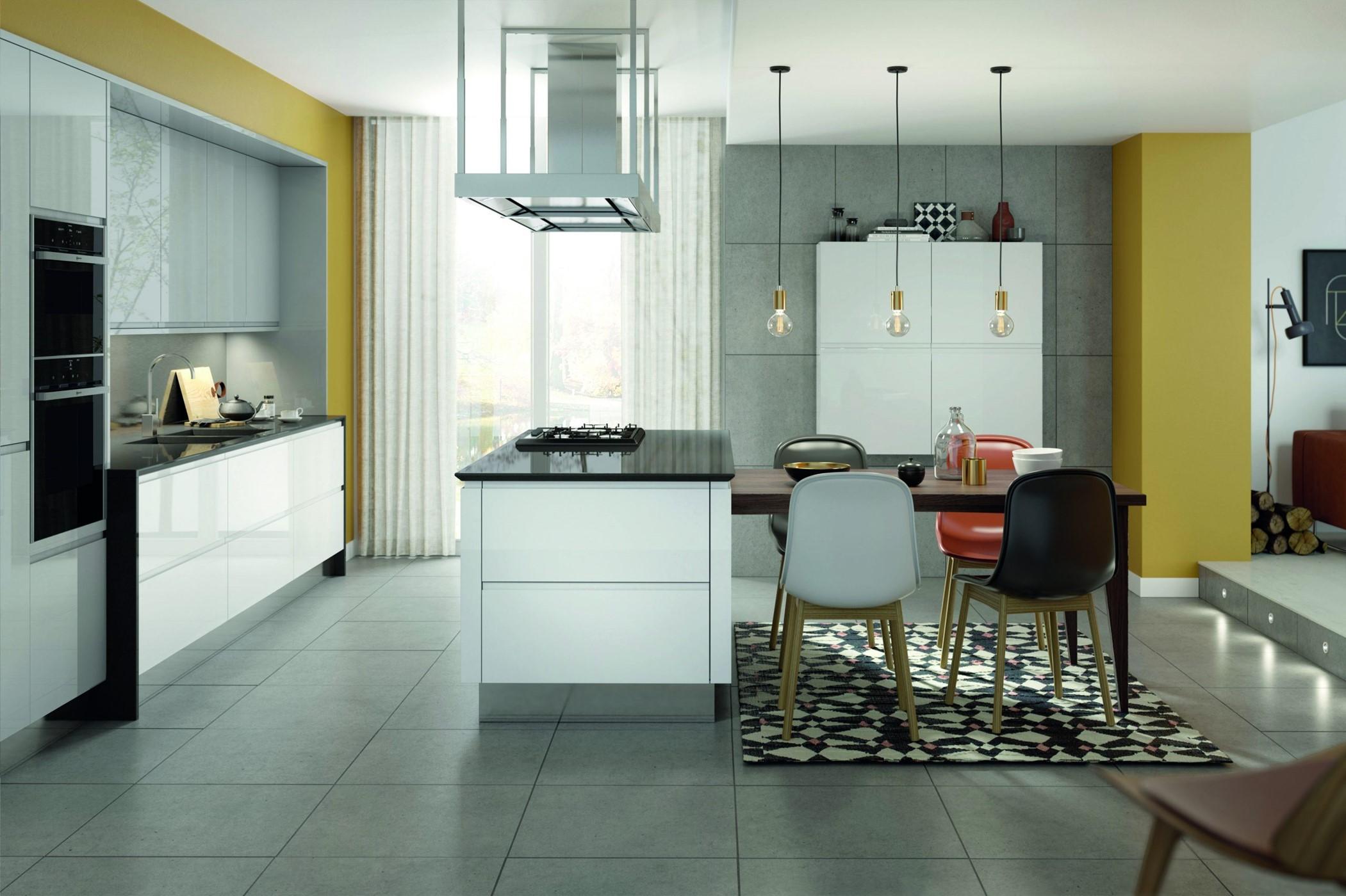Remo White Gloss & Silver Grey Gloss kitchen